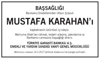Mustafa Karahan Başsağlığı İlanı