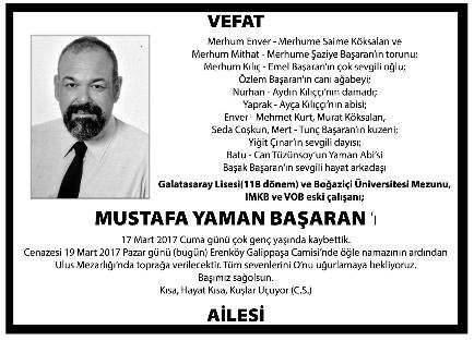 Mustafa Yaman Başaran Vefat İlanı