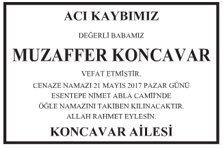 Muzaffer Koncavar Vefat İlanı