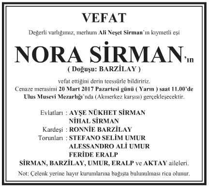 Nora Sirman Vefat İlanı