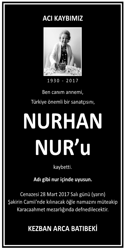 Nurhan Nur Vefat İlanı
