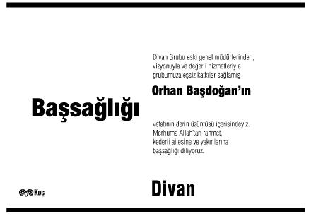 Orhan Başdoğan Başsağlığı İlanı