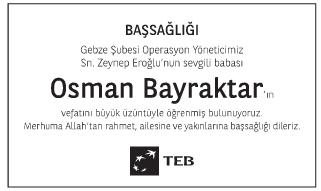 Osman Bayraktar Başsağlığı İlanı