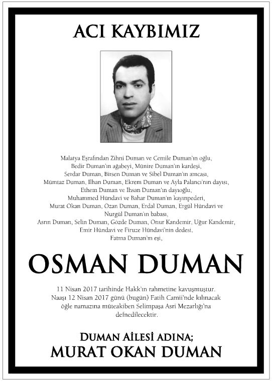 Osman Duman Vefat İlanı