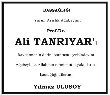 Profesör Doktor Ali Tanrıyar Başsağlığı İlanı