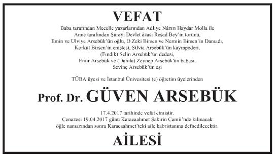 Profesör Doktor Güven Arsebük Vefat İlanı