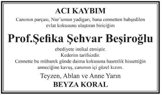 Profesör Şefika Şehvar Beşiroğlu Vefat İlanı
