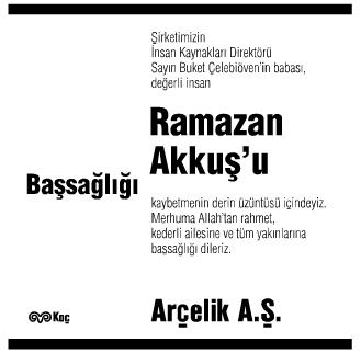 Ramazan Akkuş Başsağlığı İlanı