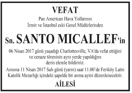 Santo Mıcallef Vefat İlanı