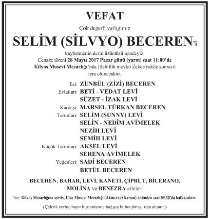 Selim Beceren Vefat İlanı