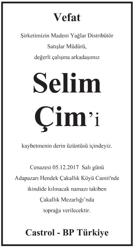 Selim Çim Vefat İlanı