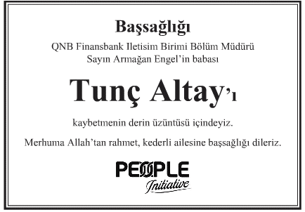 Tunç Altay Başsağlığı İlanı