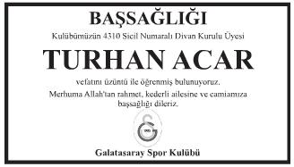 Turhan Acar Başsağlığı İlanı