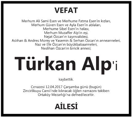 Türk Alp Vefat İlanı