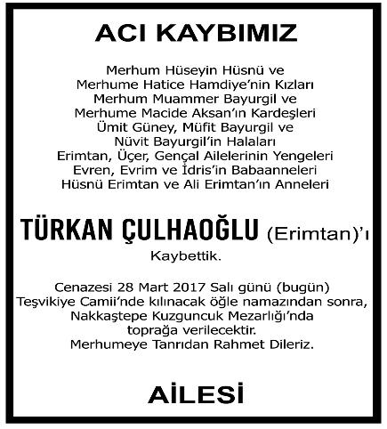 Türkan Çulhaoğlu Vefat İlanı