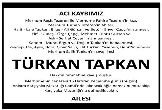 Türkan Tapkan Vefat İlanı