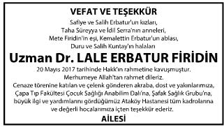 Uzman Doktor Lale Erbatur Firidin Teşekkür İlanı