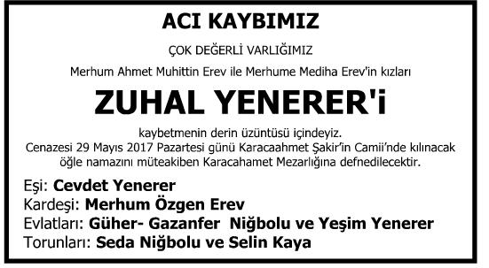 Zuhal Yenerer Vefat İlanı